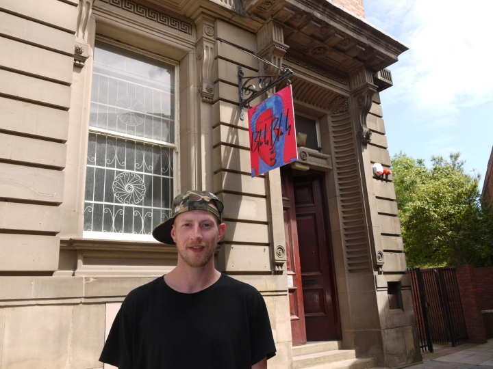 Bobby outside the super cool gallery that is House of Blah Blah