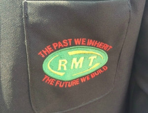 Significant slogan don the rail workers unions uniform